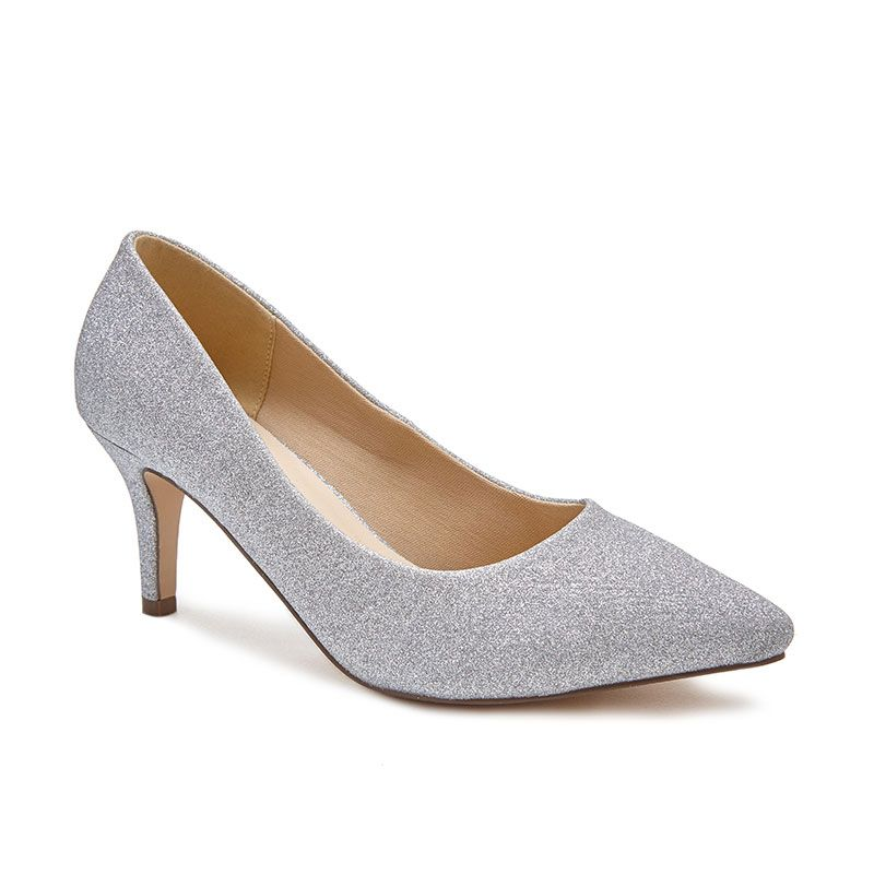 silver court shoes